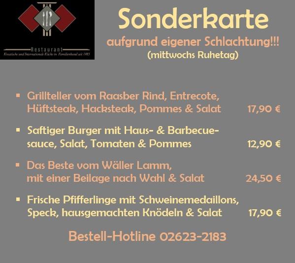 """Die Sonderkarte des Restaurants Römerterrasse """"Gänse"""" und """"Raclette"""""""