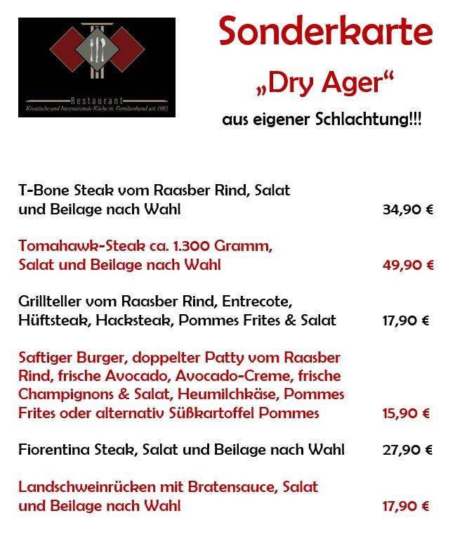 Spargelkarte des Restaurants Römerterrasse.